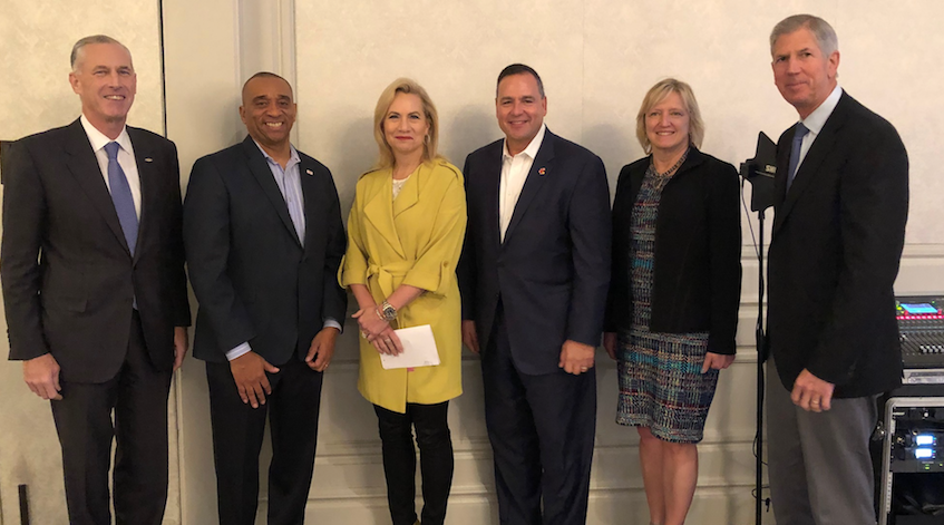 L to R: Jim Fitterling, CEO, Dow; Daryl Roberts, chief operations and engineering officer, DuPont; Lori Ryerkerk, CEO, Celanese; Mark Vergnano, president and CEO,  Chemours; June Wispelwey, executive director and CEO, AIChE; and Cal Dooley, president and CEO, ACC.