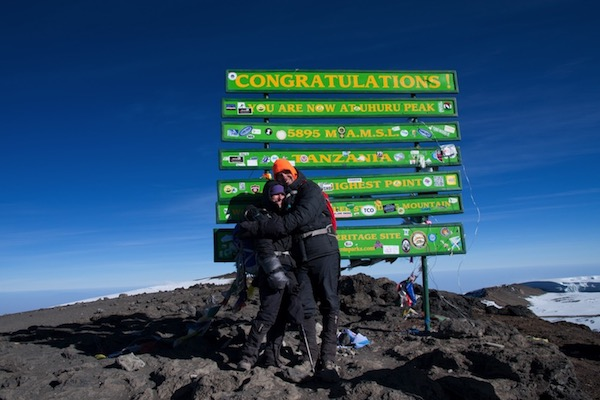 Stephanie and husband Peter at the top of Kilimanjaro (5895 m)