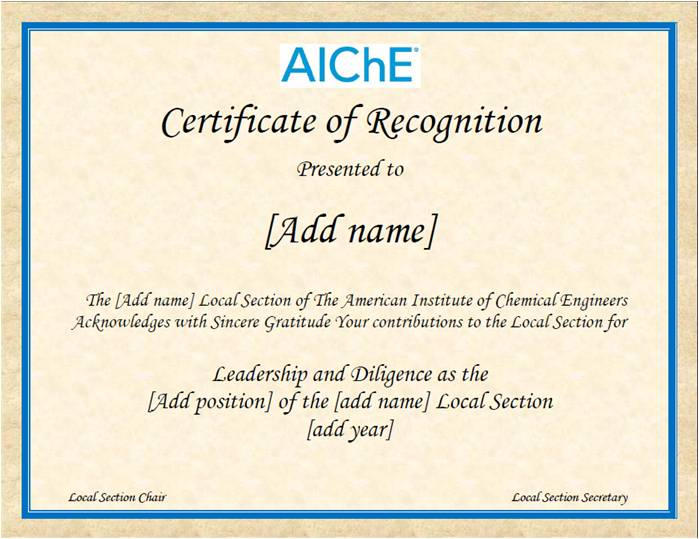 what is a certificate of recognition
