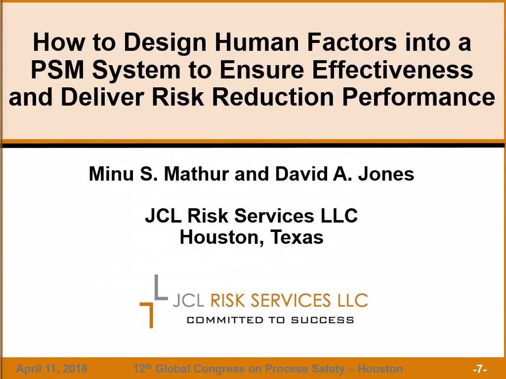 How To Design Human Factors Into A Psm System To Ensure Effectiveness And Deliver Risk Reduction Performance Aiche