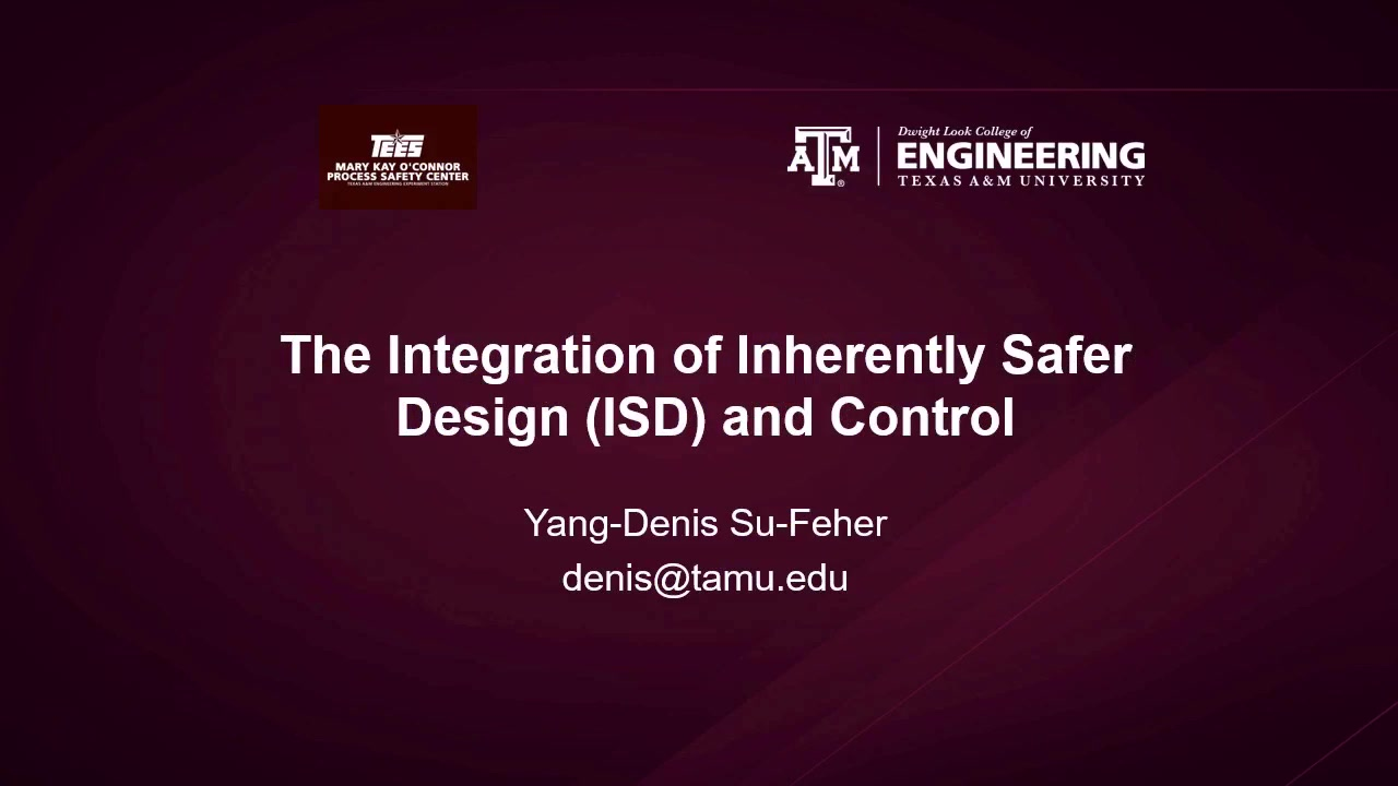 The Integration Of Inherently Safer Design And Control Aiche