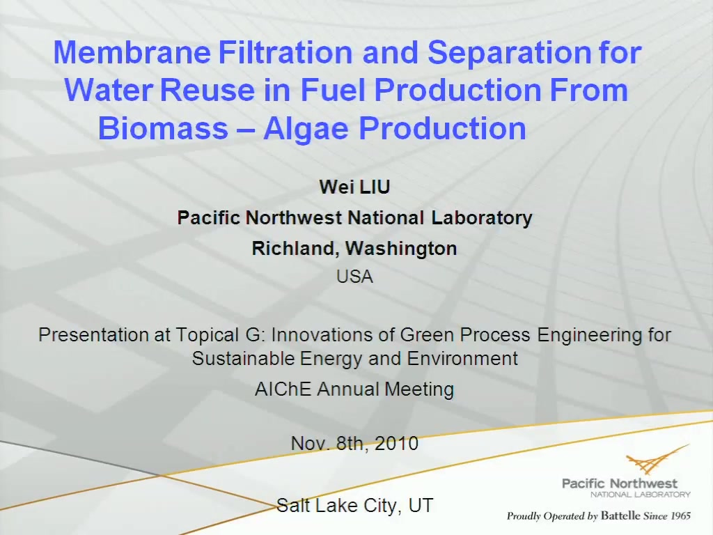 Membrane Filtration and Separation for Water Reuse in Fuel