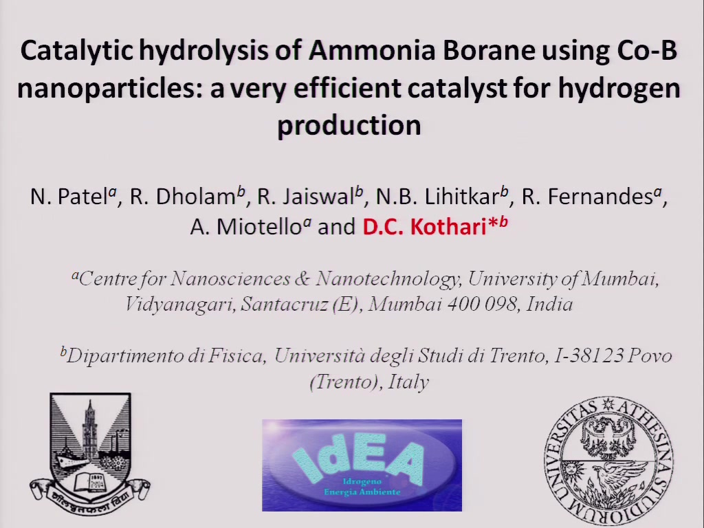 Catalytic Hydrolysis of Ammonia Borane Using Co-B Nanoparticles