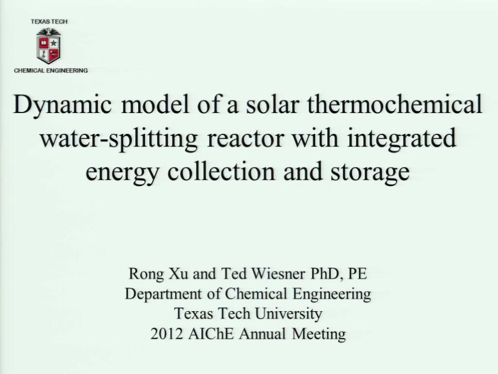 Dynamic Model of a Solar Thermochemical Water-Splitting