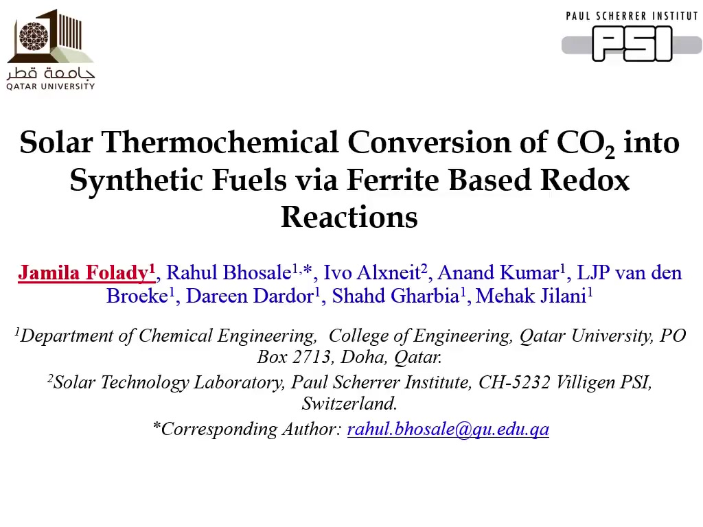 Solar Thermochemical Conversion of CO2 into Synthetic Fuels Via
