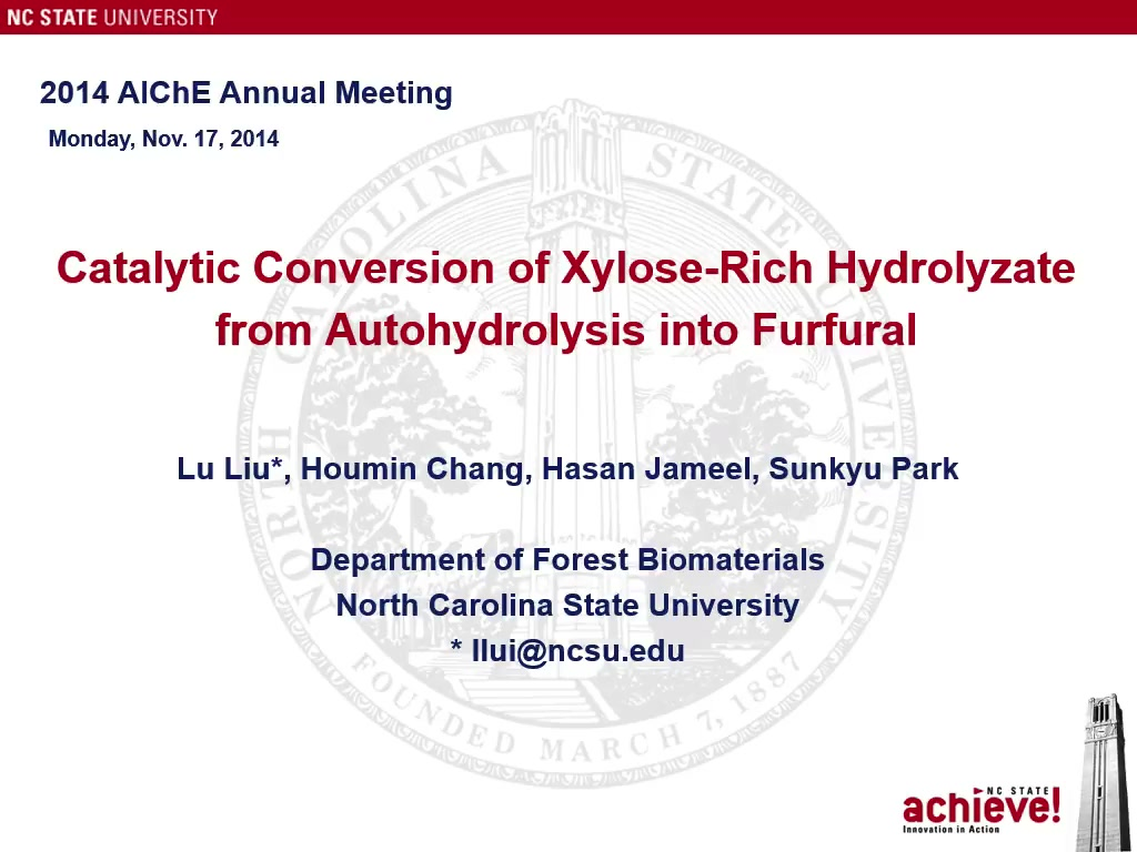 Xylose To Furfural Conversion of Xylose-Rich