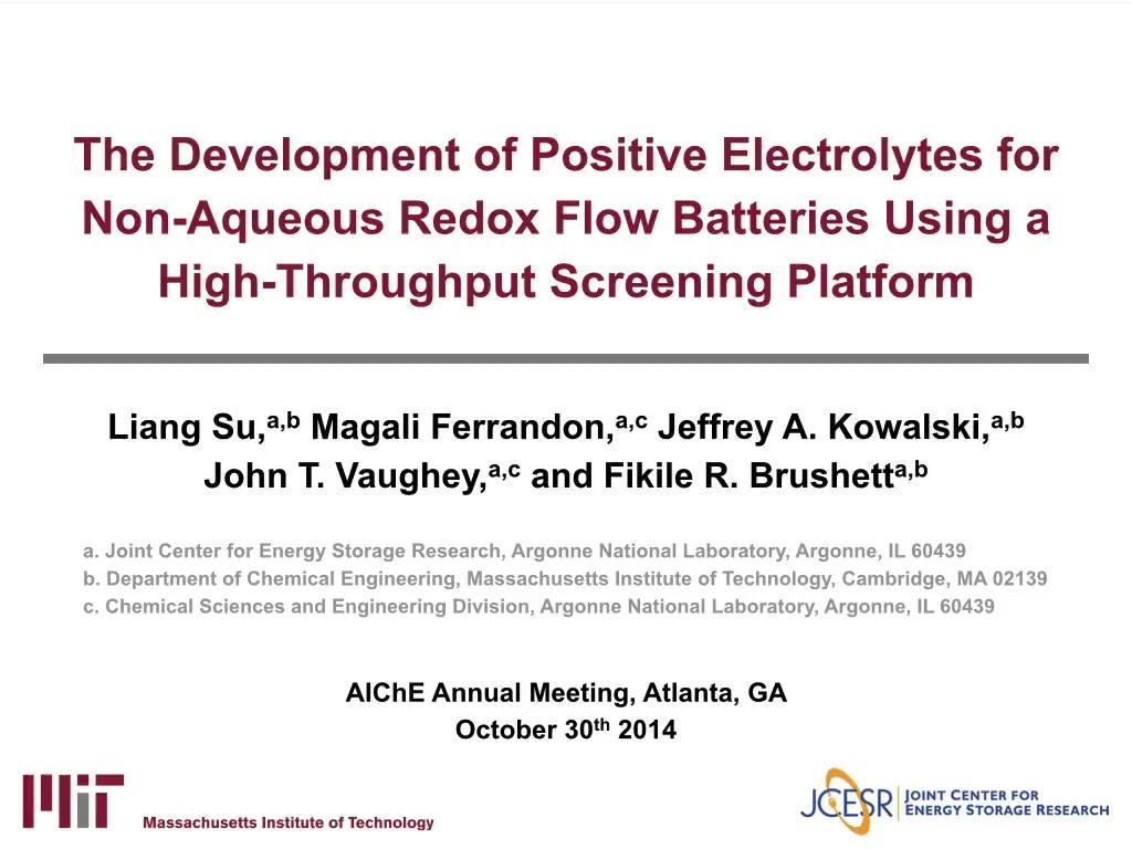 Identification of Advanced Electrolytes for Non-Aqueous Redox Flow