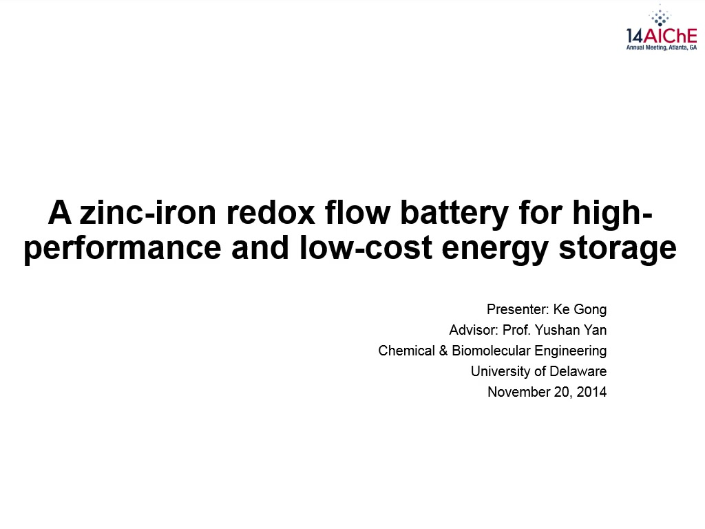 A Zinc-Iron Redox Flow Battery for High-Performance and Low-Cost