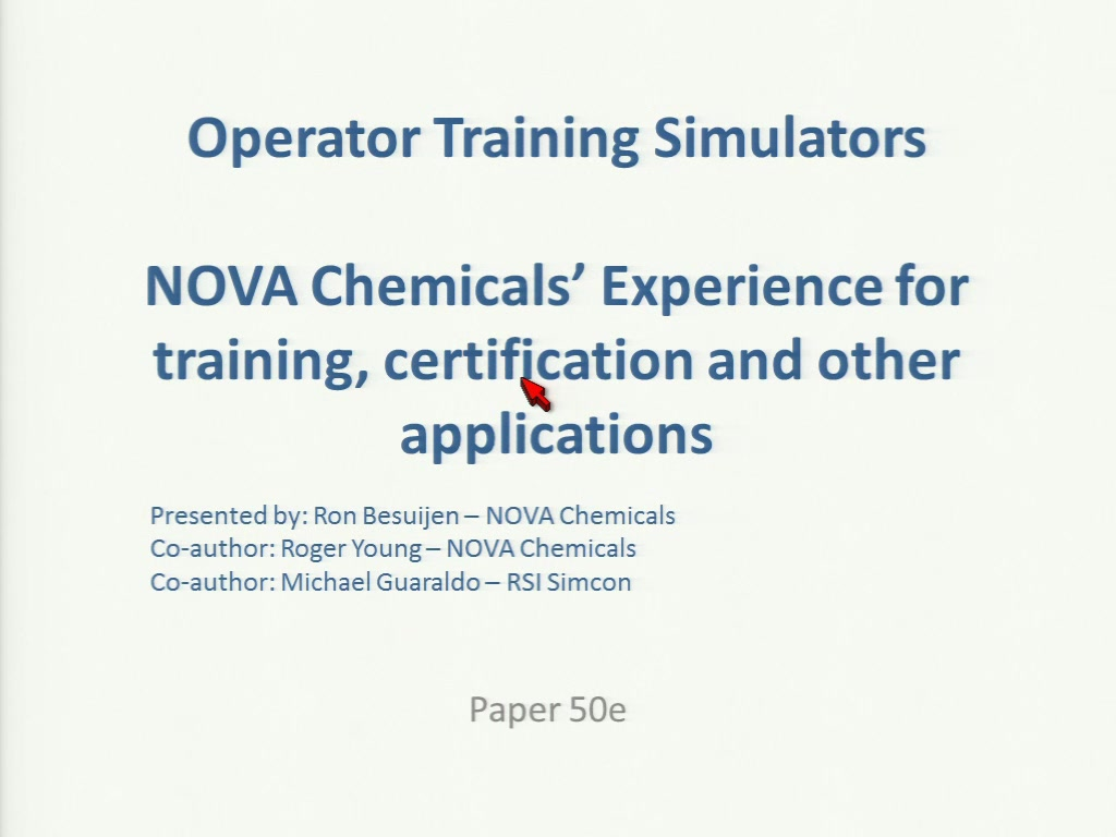 Operator training simulators nova chemicals experience for operator training simulators nova chemicals experience for training certification and other applications xflitez Gallery
