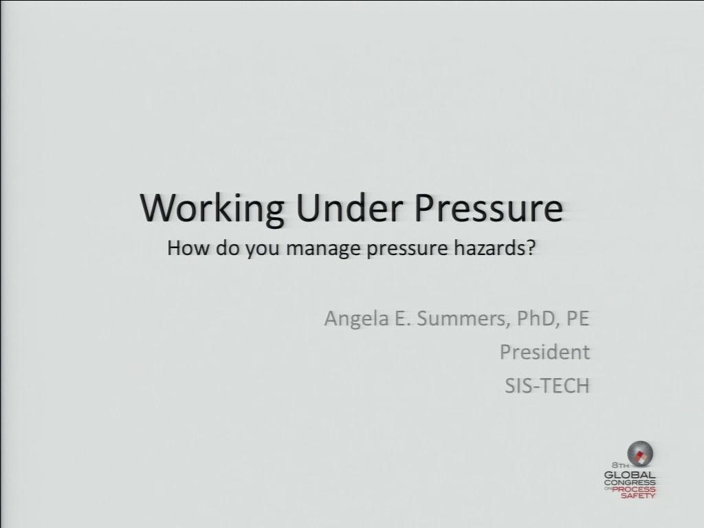 working under pressure  how do you manage pressure hazards