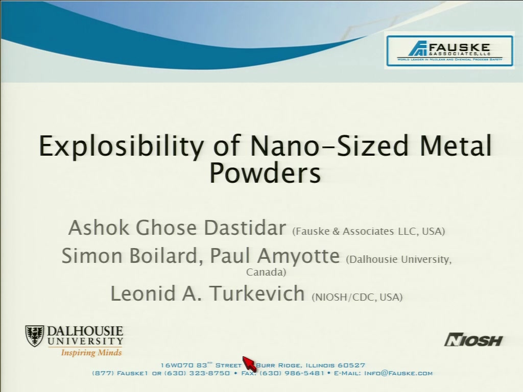 Explosibility of Nano-Sized Metal Powders | AIChE