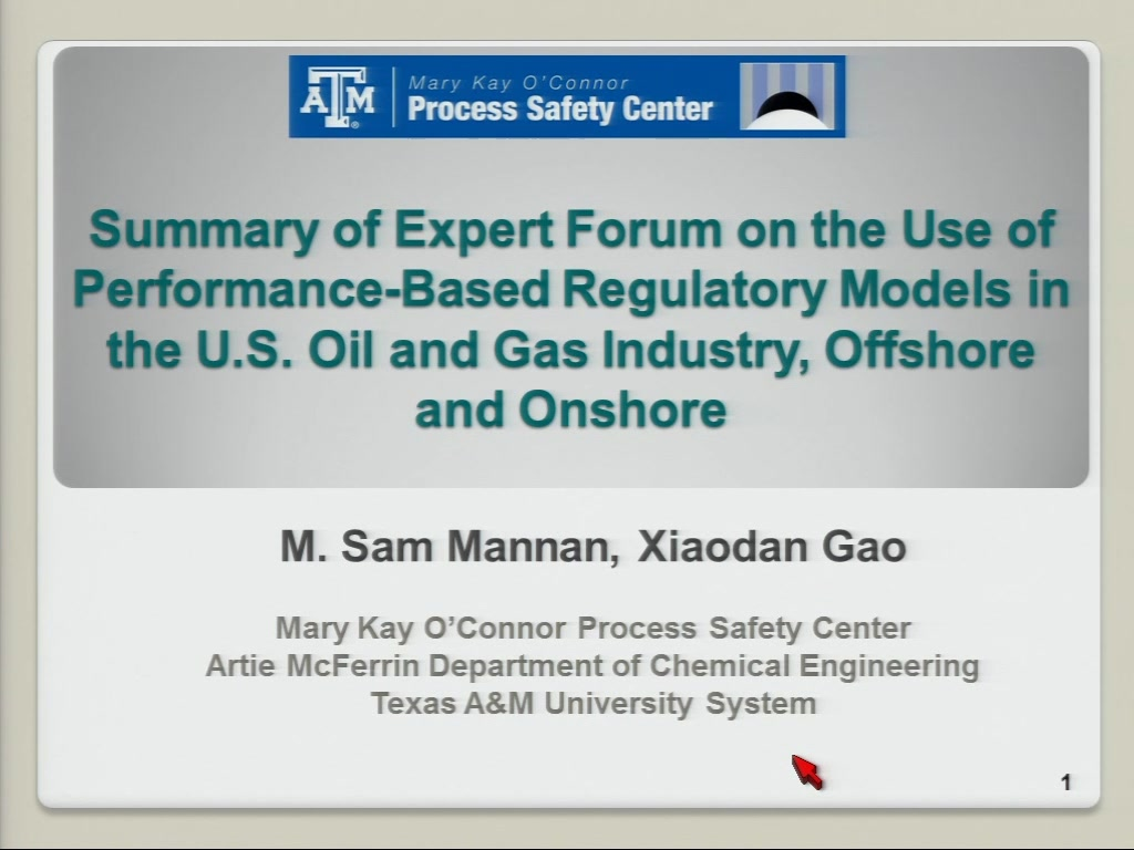 Summary of Expert Forum On the Use of Performance-Based