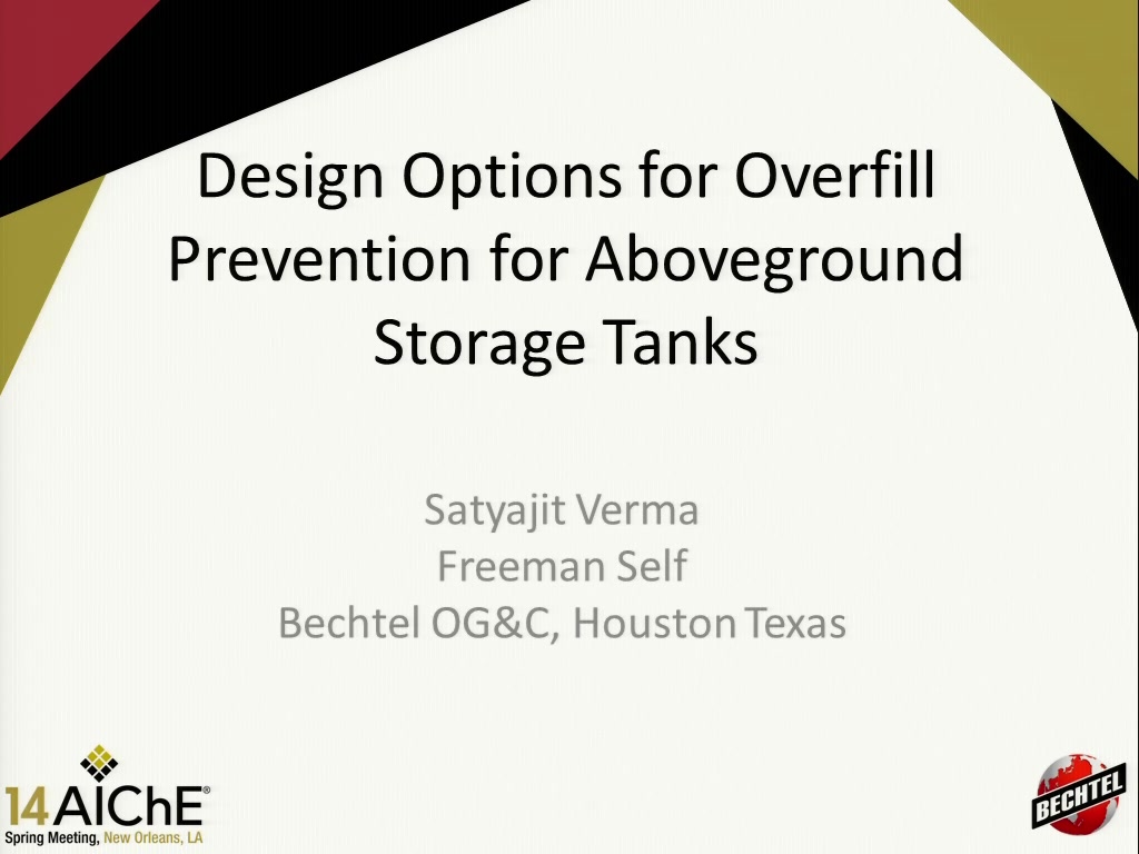 Design Options for Overfill Protection for Aboveground Atmospheric