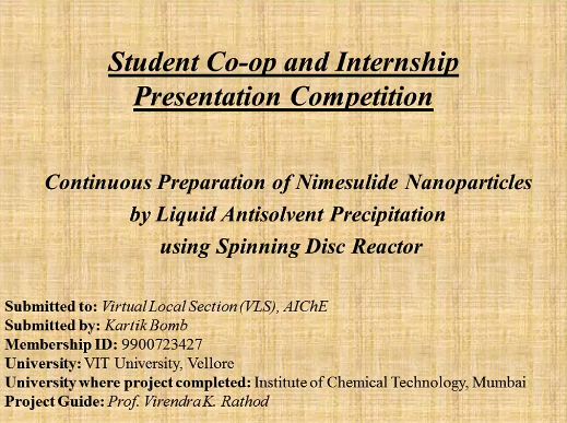 Co Op Internship >> Student Co Op And Internship Presentation Competition Aiche