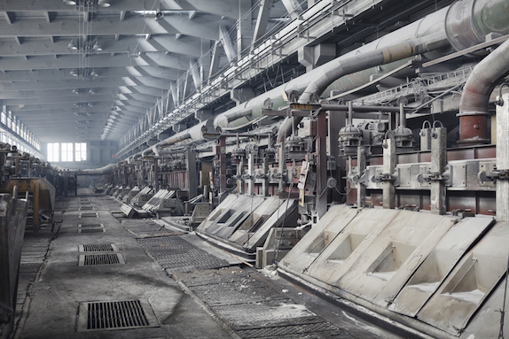 A typical facility for the electrolytic production of aluminum