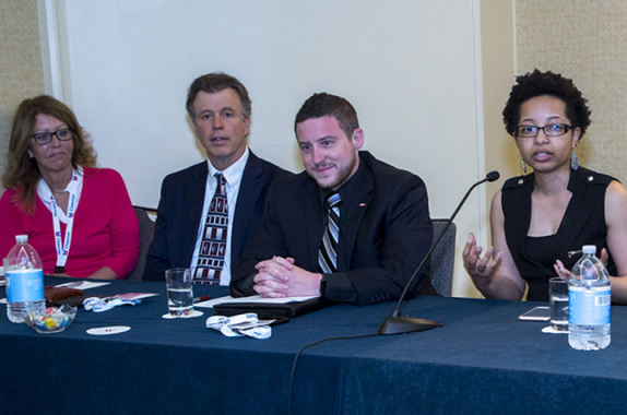 Panelists at the Spring 2018 Disability Unity Community Convocation. From left: Sandra Reyes (Equal Employment Opportunity and Affirmative Action/Diversity Administrator, State of Delaware), John Johnston (U.S. Department of Agriculture), Greg Pollock (Dow Chemical Company), and Keri Gray (U.S. Business Leadership Network). (Photo: Margot Hartford)