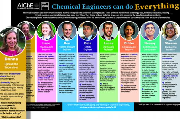 The new career guidance poster above, which highlights some of AIChE's recent 35-Under-35 Award honorees, will debut at the festival.