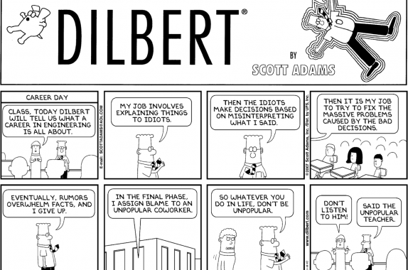 Dilbert and his coworkers help relieve.