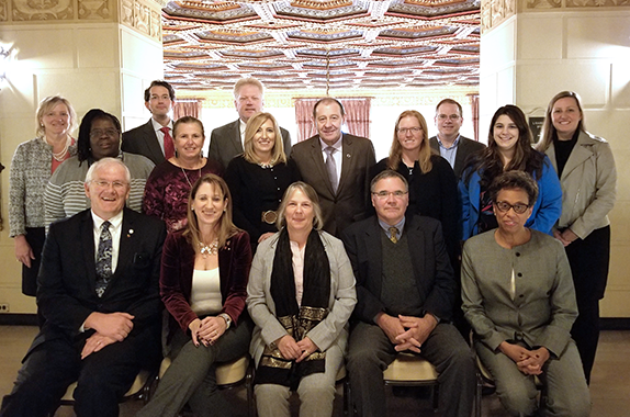 AIChE's Board of Directors for 2019: Front row from left: Joseph Smith, Christine Seymour, Kimberly Ogden, Monty Alger, Rosemarie Wesson. Behind from left: June Wispelwey (AIChE Executive Director), Mary Kathryn (Kathy) Lee, Billy Bardin, Lori McDowell, Timothy Olsen, Ana Davis, Al Sacco, Kristi Anseth, David Sholl, Kate Gawel, Erin Kane. Not shown: Marianthi Ierapetritou, Cato Laurencin.