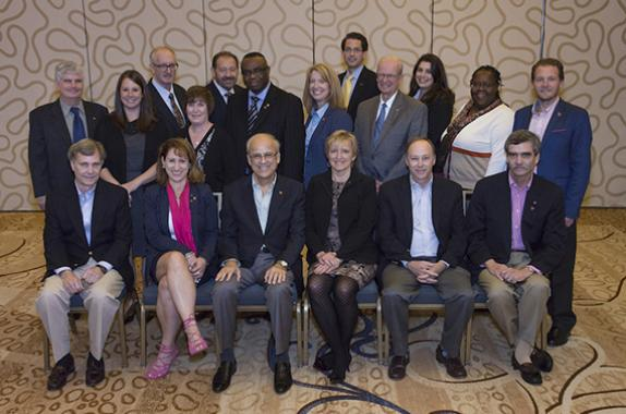 AIChE's Board of Directors for 2017: Front row from left: Freeman Self, Christine Seymour, Gregory Stephanopoulos, June Wispelwey (AIChE Executive Director), T. Bond Calloway, Dennis Griffith. Back row from left: Gregory Frank, Meagan Lewis, Joseph Powell, Sharon Robinson, Al Sacco, Timothy Odi, Anne S. Robinson, Billy Bardin, John O'Connell, Kate Gawel, Mary Kathryn (Kathy) Lee, Alan Nelson.