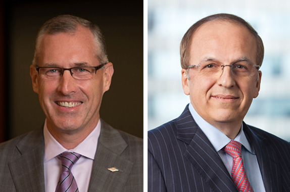 "Dow's Jim Fitterling (left) and Arsenal Capital Partners' John Televantos (right) are co-chairs of the AIChE Foundation's ""Doing a World of Good"" campaign."