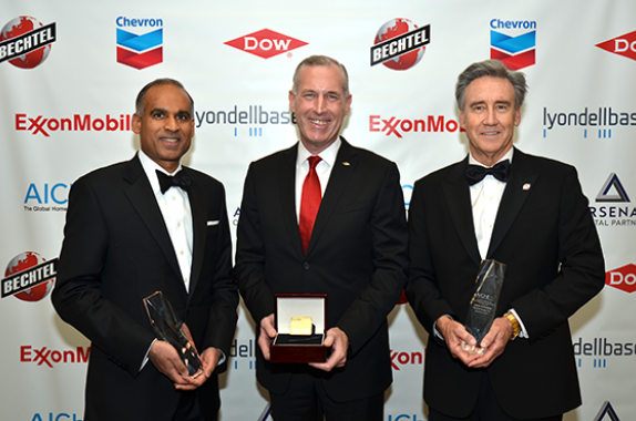 2017 Gala Honorees — From left: Bhavesh V. (Bob) Patel (LyondellBasell, Jim Fitterling (Dow), Jack  Futcher (Bechtel)