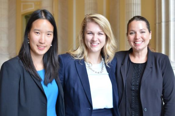 "Pictured from left to right are Kathleen Wu of Yale University, whose work centered on ""Bridging the Finance Gap for Carbon Capture and Storage;"" Jill Schoborg of Iowa State University, who studied ""To Label or Not Label: Addressing America's Genetically Modified Organism Policy;"" and Jami Summey Rice of the University of Houston, who recommended, ""Get on Board: High Speed Rail Policy to Incentivize Growth and Technologies."""