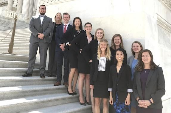 Pictured above is the 2017 Class of the Washington Internships for Students of Engineering (WISE) program. AIChE's interns were: Lauren Bartels of Tulane (front row, first from left), who focused on seawater desalination in the U.S.; Elena Shanin of the University of Utah (back row, sixth from left), who studied thermal distributed energy resources; Julia Zhuang of Yale (front row, second from left), who advocated for the deployment of advanced microgrids.