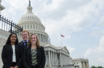 "Pictured from left to right are AIChE's 2014 WISE interns: Sravya Khasnavees of Rutgers University, whose work centered on ""Natural Gas: The Bridge Fuel;"" Sam White of the University of Michigan,  who developed ""Recommendations for Legislative Actions to Reduce Carbon Emissions in the Electricity Production Sector:"" and Erin Alderink, also of the University of Michigan, who focused on ""The Federal role in Fostering an Innovative U.S. Energy Ecosystem: Why R&D Matters."""