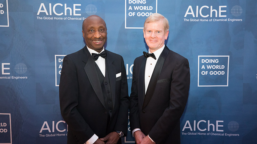 Merck & Company, represented by Chairman and Chief Executive Officer Kenneth C. Frazier (left), and Procter & Gamble Company, represented by Chairman, President and Chief Executive Officer David S. Taylor (right), received honors at the 2019 AIChE Gala, December 3 in New York City. Photo: Hassan Mokaddam, HMPhotoshoots