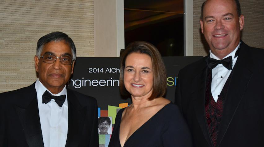 (L to R) Gala honoree Raj L. Gupta, Patricia A. Woertz, and Ryan M. Lance