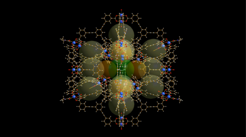 """The structure of the newly developed """"molecular cage,"""" or MOP."""