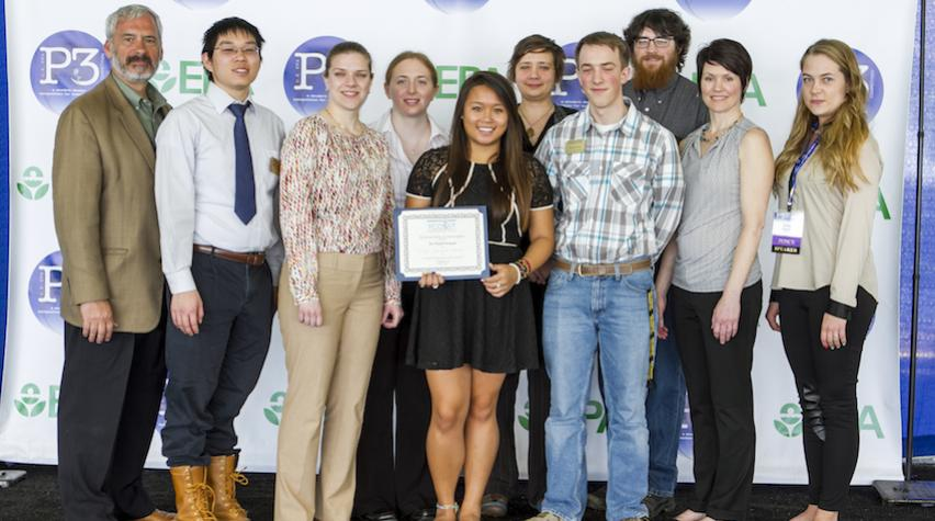 MTU's team received the 2015 YCOSST P3 award, pictured here with Lek Kideli (EPA) and Lucy Alexander(AIChE).