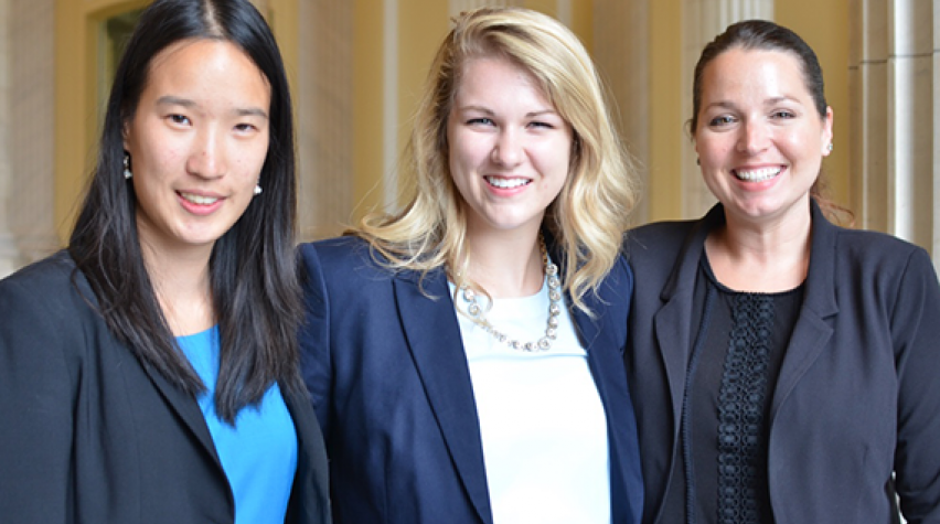 AIChE sends undergraduates to Washington, DC, each summer as part of the Washington Internships for Students of Engineering (WISE) program. This year's interns were (from left): Kathleen Wu, Yale Univ.; Jill Schoborg, Iowa State Univ.; and Jami Summey-Rice, Univ. of Houston.